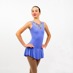 Folk Competition figure skating tank dress-Lavender