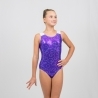 Swirl gymnastics racer back tank leotard-Purple