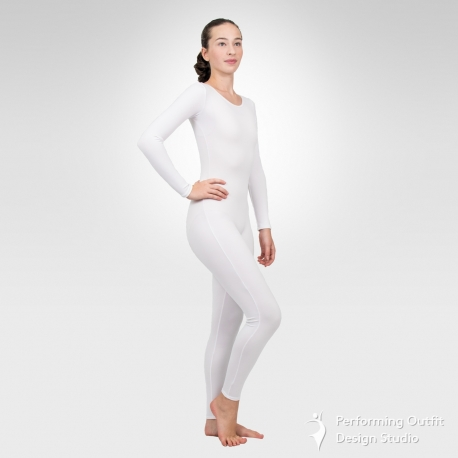 Long sleeve unitard-White