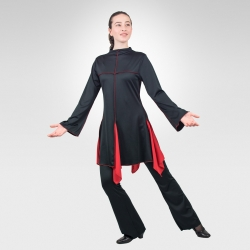 Sanctity long sleeve dance tunic-Black/Red