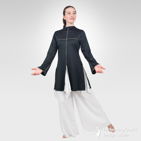 Sanctity long sleeve dance tunic-Black/White