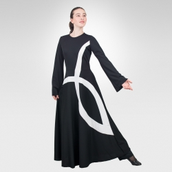 Ichthys bell sleeve dance robe- Black/White