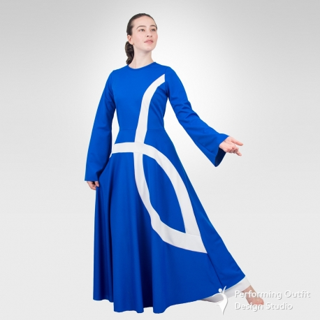 Ichthys bell sleeve dance robe- Royal Blue/White