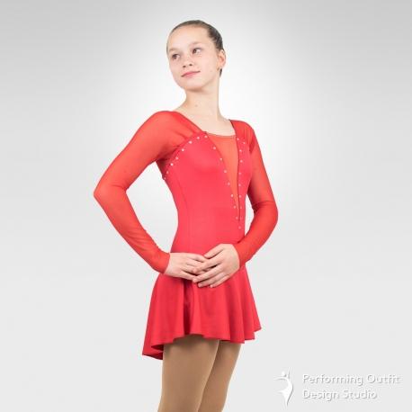 Elegy figure skating long sleeve dress-red