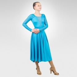 Duet ice dance dress, latin dance dress-turquoise
