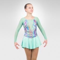 Arabesque figure skating long sleeve dress-mint