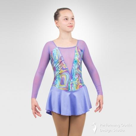 Arabesque figure skating long sleeve dress-lavender
