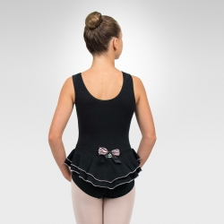 Ballet tank leotard w/back ruffles-Black back