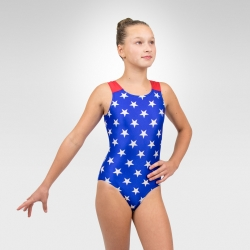 Patriotic gymnastics racer back tank leotard