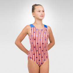 Patriotic team gymnastics racer back tank leotard