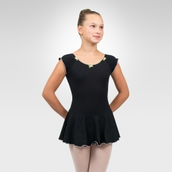 Cap sleeve dance leotard-Black
