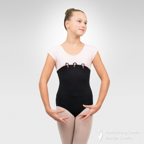 Two-color cap sleeve dance leotard