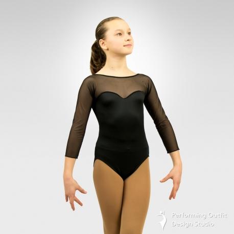 Spandex 3/4 micro-mesh sleeve dance leotard