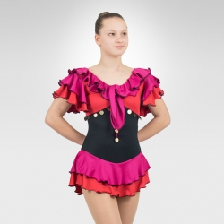 Carmen Competition figure skating dress-Lilac/Fuchsia-Front