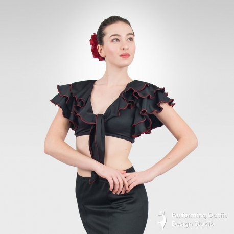 Latin dance crop top with contrast stitching-Front