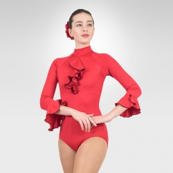 Flamenco 3/4 sleeve dance leotard-Red /Front