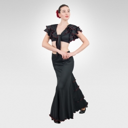 Flamenco skirt with ruffle godet-Latin dance crop top with contrast stitching-Front