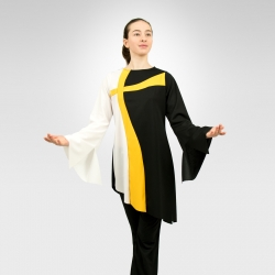 Crossways asymmetrical long sleeve top - White/Flag Gold/Black
