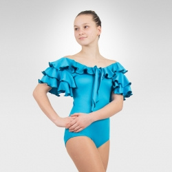 Flamenco & Latin dance leotard with self-tie-Turquoise/Front off shoulder