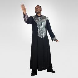 Genesis unisex dance robe-Black/Silver