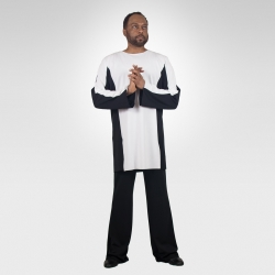 Exodus unisex dance tunic-Black/White-men's
