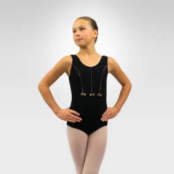 Child tank dance leotard with rosette - Black / Pink decoration