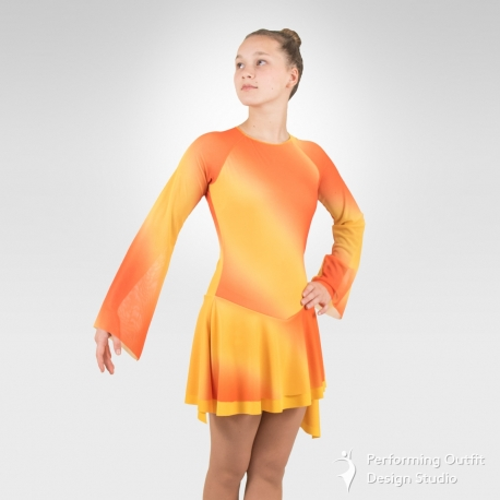 Fire figure skating dress-Front