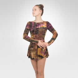 Stained Glass long sleeve  figure skating dress