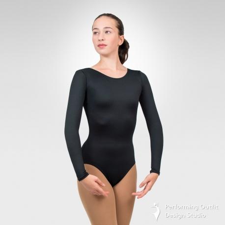 Long sleeve basic dance leotard-Black