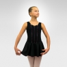 Child tank dance leotard w/attached circular skirt and rosette - Black