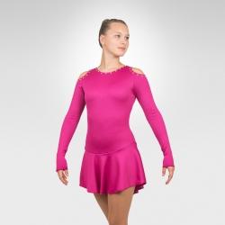 Jazzy figure skating long sleeve dress-Fuchsia