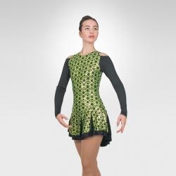 Celtic figure skating long sleeve dress-Green/Black