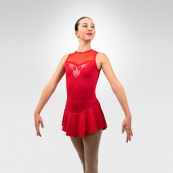 Sparkle Competition figure skating tank dress - Red