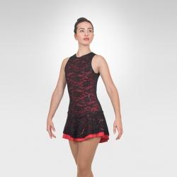 Stunning figure skating tank dress-Red/Black front