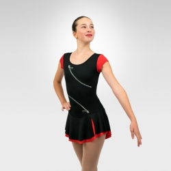 Zip skating cup sleeve dress - Black / Red