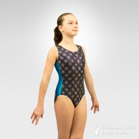 Gymnastics contrast side insets tank leotard - Turquoise