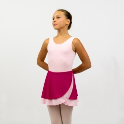 Walz of the Flowers reversible two-ply knit dance wrap skirt-Magenta/Light Pink