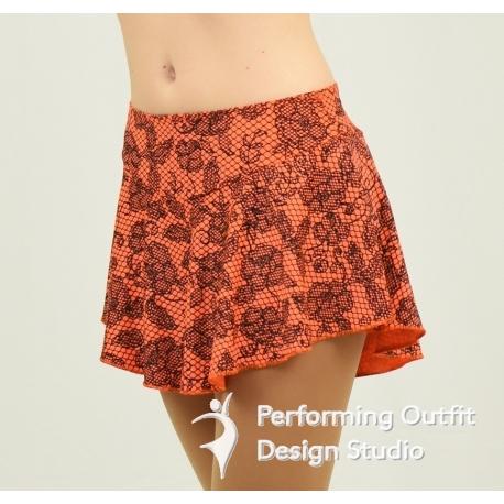 Lace print figure skating skirt-Neon Orange/Black Lace Print