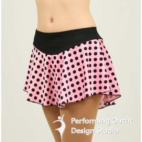 Polka Dots print figure skating skirt