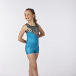 Hologram Inset Turquoise Gymnastics Leotard and Shorts