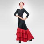 Flamenco dress with red circular ruffles