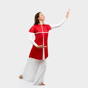 Glory Liturgical Dancewear Overlay Tunic Red-White