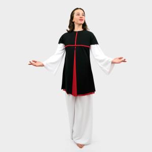 Glory Praise Dancewear Overlay Tunic Black-Red