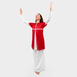 Glory Praise Dancewear Overlay Tunic Red-White