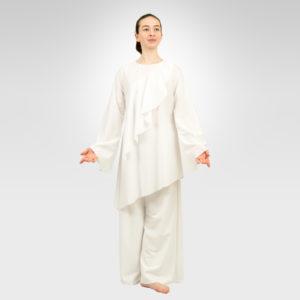 Awaken asymmetrical liturgical dance top white