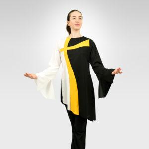Crossways praise dance tunic white-flag gold-black