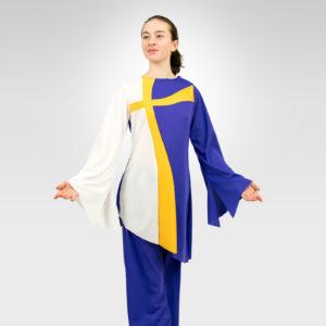 Crossways praise dance tunic white-flag gold-purple