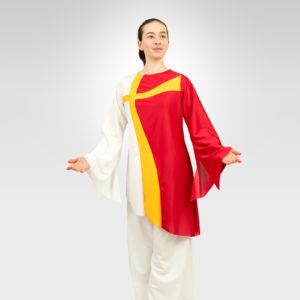 Crossways praise dance tunic white-flag-gold-red
