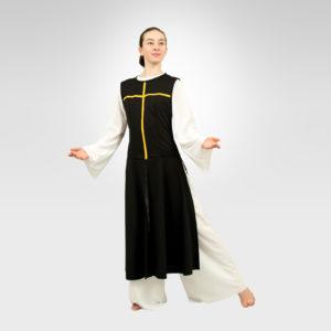 Power of Belief liturgical dance overdress black-flag gold cross