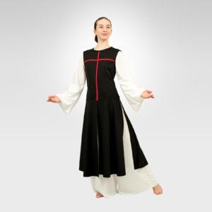Power of Belief liturgical dance overdress black-red cross